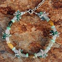 Jade and quartz flower bracelet, 'Love Blossoms' - Jade and quartz flower bracelet