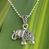 Marcasite pendant necklace, 'Thai Elephant' - Handcrafted Marcasite and Sterling Silver Pendant Necklace