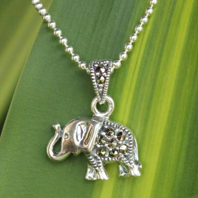 Handcrafted marcasite and sterling silver pendant necklace thai marcasite pendant necklace thai elephant handcrafted marcasite and sterling silver pendant necklace aloadofball Images