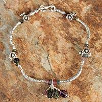 Tourmaline and amethyst flower bracelet, 'Hill Tribe Colors' - Hand Crafted Hill Tribe Tourmaline Bracelet