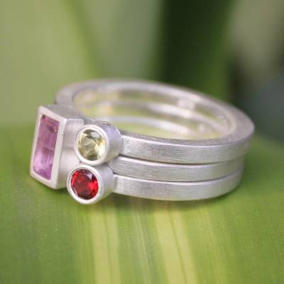 Amethyst and garnet stacking rings, 'Gemstone Geometry' (set of 3) - Unique Silver and Amethyst Stacking Rings (Set of 3)
