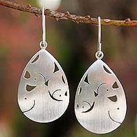 Sterling silver dangle earrings, 'Elephant Cuddles' - Fair Trade Sterling Silver Dangle Earrings