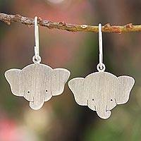 Sterling silver dangle earrings, 'Sweet Elephants' - Sterling Silver Dangle Earrings