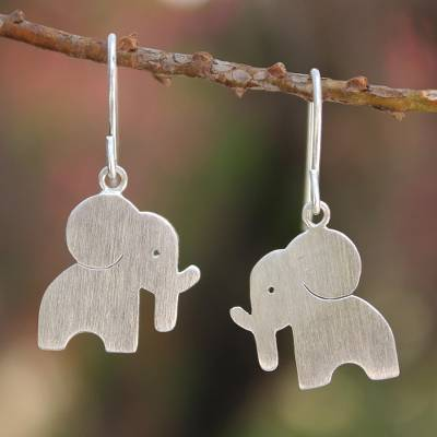 Sterling silver dangle earrings, 'Elephant Silhouettes' - Modern Sterling Silver Dangle Earrings