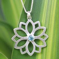 Blue topaz pendant necklace, 'Star of Truth' - Blue Topaz and Silver Flower Necklace