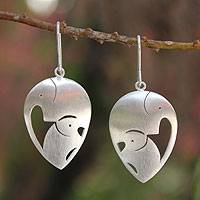 Sterling silver dangle earrings, 'Loving Elephants'