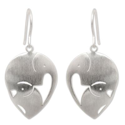 Sterling silver dangle earrings, 'Loving Elephants' - Sterling Silver Dangle Earrings from Thailand