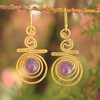 Gold plated amethyst dangle earrings, 'Follow the Dream' - Hand Crafted Modern Gold Plated Amethyst Earrings
