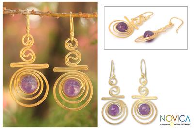 Gold plated amethyst dangle earrings, 'Follow the Dream' - Hand Crafted Modern Gold Plated Amethyst Earrings