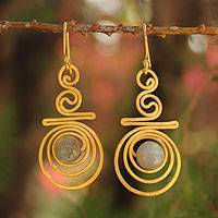 Gold plated labradorite dangle earrings, 'Follow the Dream' - Gold Plated Labradorite Dangle Earrings