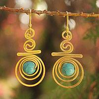 Gold plated dangle earrings, 'Follow the Dream' - Handcrafted Gold Plated Dangle Earrings