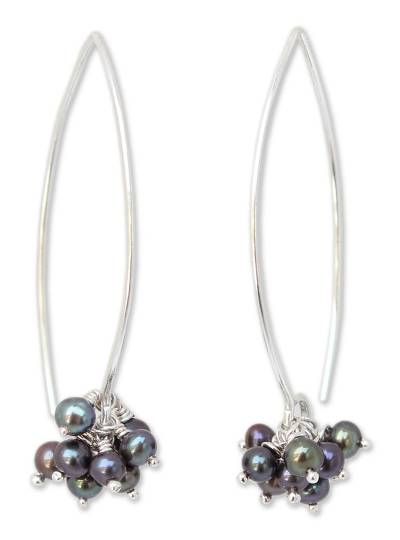 Cultured pearl drop earrings, 'Stars of Fascination' - Fair Trade Sterling Silver Pearl Earrings
