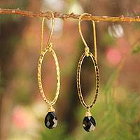 Gold vermeil onyx dangle earrings, 'Iris Dewdrop' - Gold Vermeil and Onyx Earrings