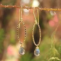 Gold vermeil labradorite dangle earrings, 'Iris Dewdrop' - Gold Vermeil Labradorite Earrings