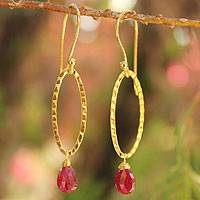Gold vermeil ruby dangle earrings, 'Iris Dewdrop'