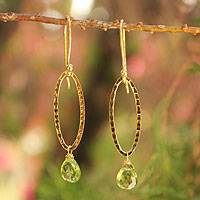 Gold vermeil peridot dangle earrings, 'Iris Dewdrop' - Unique Gold Vermeil and Peridot Earrings