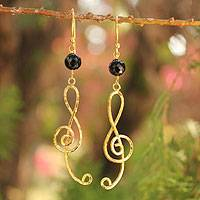 Gold vermeil onyx chandelier earrings, 'Thai Melody' - Gold vermeil onyx chandelier earrings