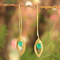 Gold plated onyx dangle earrings, 'Petal'