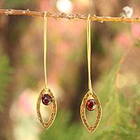 Gold plated garnet dangle earrings, 'Petal' - Thai Gold Plated Garnet Dangle Earrings