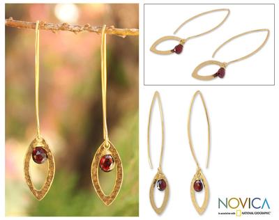 Gold plated garnet dangle earrings, 'Petal' - Thai Gold Plated Garnet Dangle Earrings