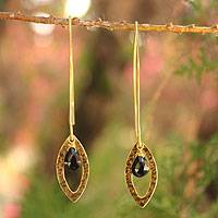 Gold plated onyx dangle earrings, 'Petal' - Gold Plated Onyx Earrings