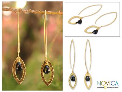 Gold plated onyx dangle earrings, 'Petal' - Gold Plated Onyx Earrings