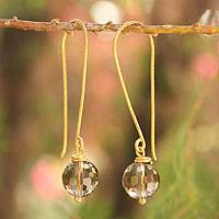 Gold vermeil smoky quartz dangle earrings, 'Songkran Moon' - Hand Crafted Vermeil and Smoky Quartz Earrings