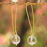 Gold vermeil quartz dangle earrings, 'Songkran Moon' - Gold vermeil quartz dangle earrings