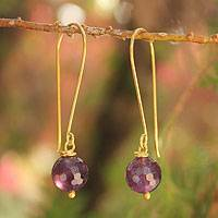 Gold vermeil amethyst dangle earrings, 'Songkran Moon' - Gold Vermeil Amethyst Dangle Earrings