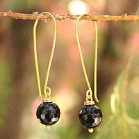 Gold vermeil onyx dangle earrings, 'Songkran Moon' - Fair Trade Vermeil and Onyx Earrings