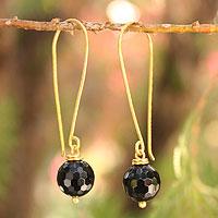 Gold vermeil onyx dangle earrings, 'Songkran Moon' - Fair Trade Vermeil and Onyx Earrings