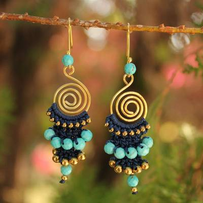 Taashya Metal and Blue Beads Earing