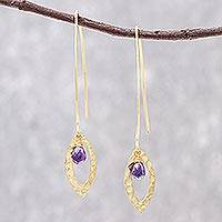 Gold plated amethyst dangle earrings, 'Petal' - Handmade Gold Plated Amethyst Dangle Earrings