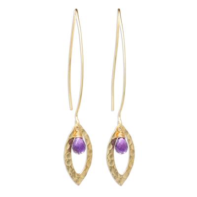 Gold plated amethyst dangle earrings, 'Petal' - Handmade Gold Plated Amethyst Dangle Earrings