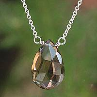 Smoky quartz pendant necklace, 'A Spell of Creativity' - Artisan Crafted Sterling Silver and Smokey Quartz Necklace