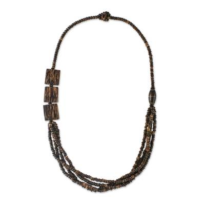 Coconut shell and wood long beaded necklace, 'Organic Belle' - Thai Coconut Shell and Wood Beaded Necklace