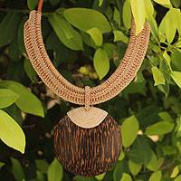 Leather and coconut wood pendant necklace, 'Tan Tribal Glam'