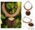 Leather and coconut wood pendant necklace, 'Tan Tribal Glam' - Leather and Coconut Wood Pendant Necklace thumbail