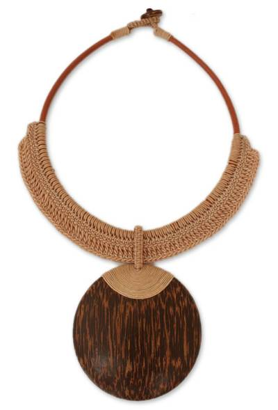 Leather and Coconut Wood Pendant Necklace