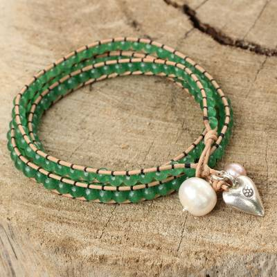 Wristband bracelet, 'Forest Heart' - Leather and Quartz Wrap Bracelet