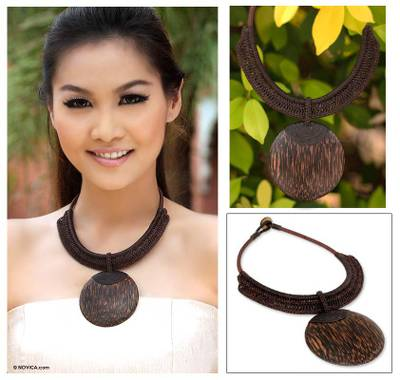 Leather and coconut wood pendant necklace, 'Brown Tribal Glam' - Artisan Crafted Coconut Wood Pendant Necklace