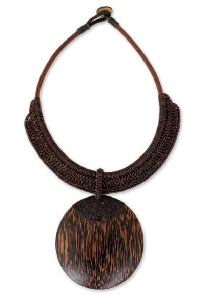 Artisan Crafted Coconut Wood Pendant Necklace
