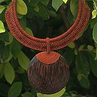 Leather and coconut wood pendant necklace, 'Ginger Tribal Glam' - Fair Trade Artisan Handmade Crocheted Leather Choker Necklac