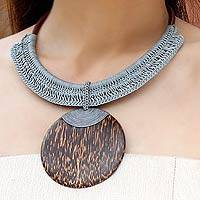 Leather and coconut wood pendant necklace, 'Gray Tribal Glam'