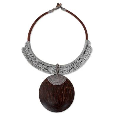 Coconut Wood Crochet Statement Necklace