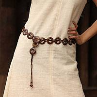 Coconut shell belt, 'Thai Circle of Love' - Hand Crafted Modern Coconut Shell Belt