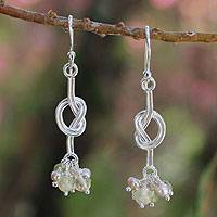 Cultured pearls and citrine cluster earrings, 'Love Knots' - Cultured pearls and citrine cluster earrings
