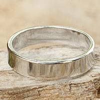 Men's sterling silver ring, 'Trust the Moon' - Men's Sterling Silver Band Ring