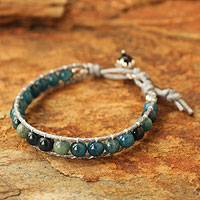 Apatite and agate beaded bracelet, 'Sea Light Serenade' - Kyanite and Agate Beaded Bracelet