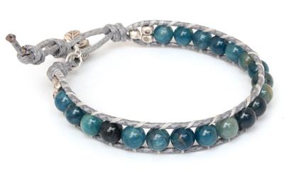 Apatite and agate beaded bracelet, 'Sea Light Serenade' - Handcrafted Kyanite and Agate Beaded Bracelet